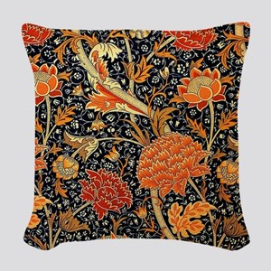 Vintage floral design, Cray Woven Throw Pillow