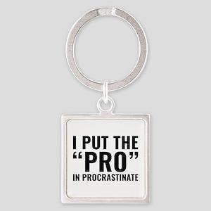 Pro In Procrastinate Square Keychain