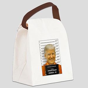 Trump Mugshot Photo Moron 45 Canvas Lunch Bag