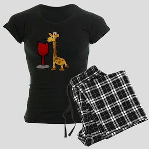 Giraffe Drinking Wine Women's Dark Pajamas