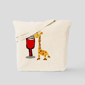 Giraffe Drinking Wine Tote Bag
