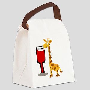 Giraffe Drinking Wine Canvas Lunch Bag