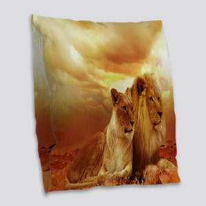 Africa Lion and Lioness Burlap Throw Pillow