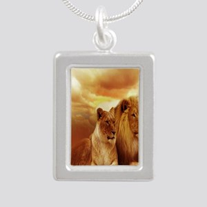Africa Lion and Lioness Silver Portrait Necklace
