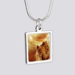 Africa Lion and Lioness Silver Square Necklace