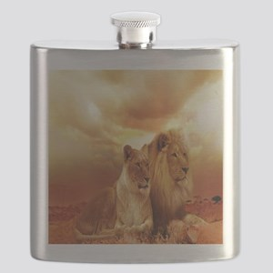 Africa Lion and Lioness Flask