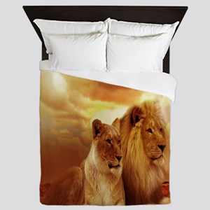 Africa Lion and Lioness Queen Duvet