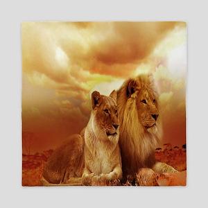 Africa Lion and Lioness Queen Duvet