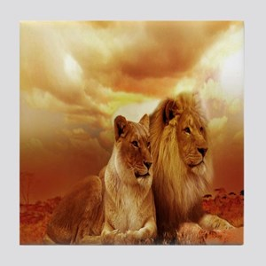 Africa Lion and Lioness Tile Coaster