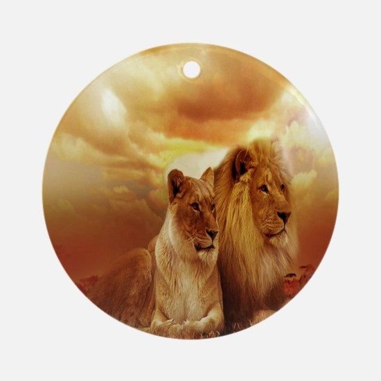Africa Lion and Lioness Round Ornament
