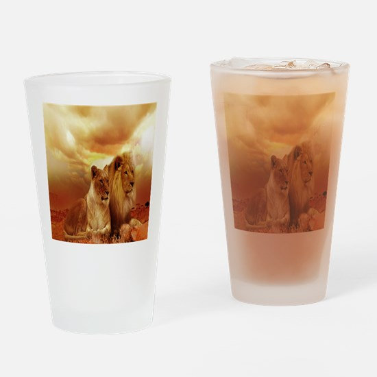 Africa Lion and Lioness Drinking Glass