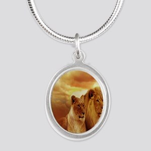 Africa Lion and Lioness Silver Oval Necklace