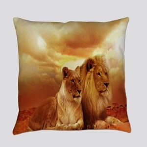 Africa Lion and Lioness Everyday Pillow