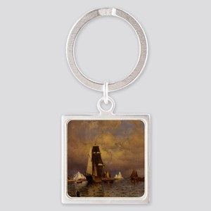 Pirate Ship Bay Square Keychain