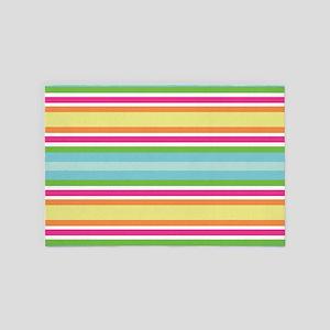 Cute Pink Striped Summer 4' x 6' Rug