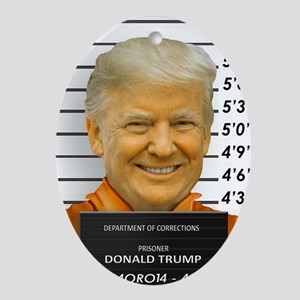 Trump Mugshot Photo Moron 45 Oval Ornament