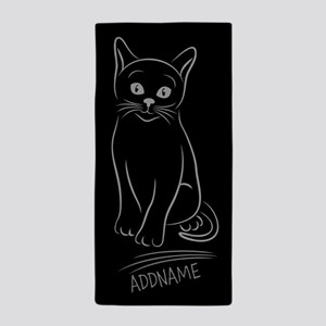 Silver and Black Hand Drawn Cat Person Beach Towel