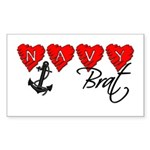 Navy Brat hearts Rectangle Sticker