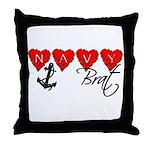 Navy Brat hearts  Throw Pillow