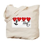 Navy Brat hearts  Tote Bag