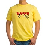 Navy Brat hearts Yellow T-Shirt