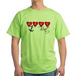 Navy Brat hearts Green T-Shirt
