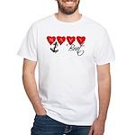 Navy Brat hearts White T-Shirt