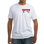 Navy Brat hearts Fitted T-Shirt