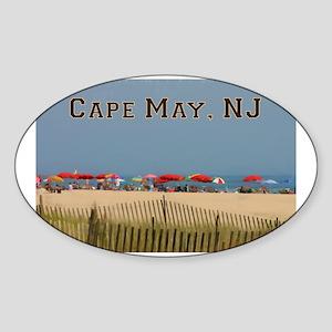 Cape May, NJ Beach Scene Sticker