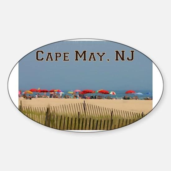 Cape May, NJ Beach Scene Decal