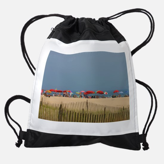 Cape May, NJ Beach Umbrellas Drawstring Bag
