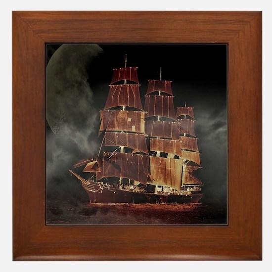 Cute Pirate ships Framed Tile