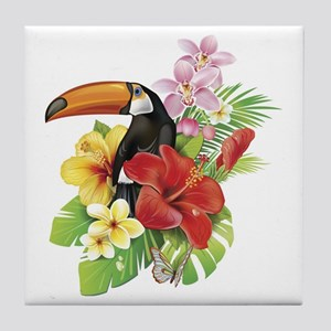 Toucan and Flowers Tile Coaster