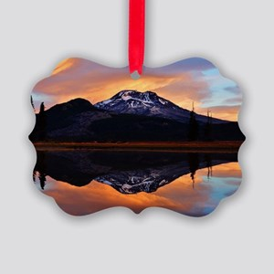 Sunset over 3 Sisters Picture Ornament