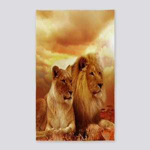 Africa Lion and Lioness Area Rug