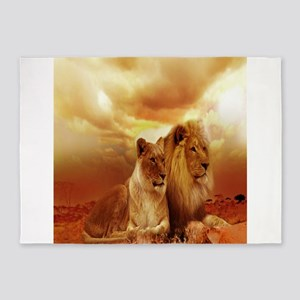 Africa Lion and Lioness 5'x7'Area Rug