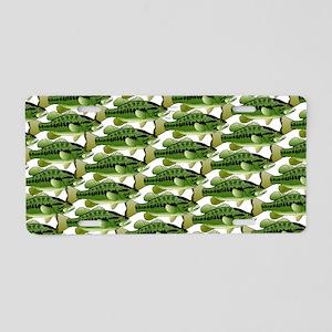 Largemouth Bass Pattern Aluminum License Plate
