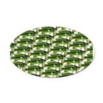 Largemouth Bass Pattern Oval Car Magnet