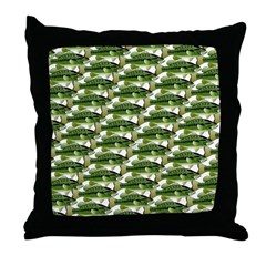 Largemouth Bass Pattern Throw Pillow