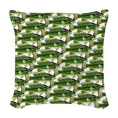 Largemouth Bass Pattern Woven Throw Pillow