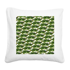 Largemouth Bass Pattern Square Canvas Pillow