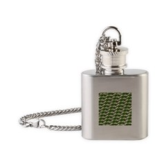 Largemouth Bass Pattern Flask Necklace