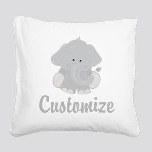 Baby Elephant Square Canvas Pillow