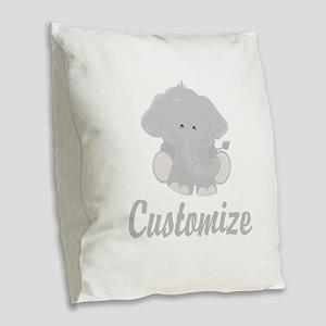 Baby Elephant Burlap Throw Pillow