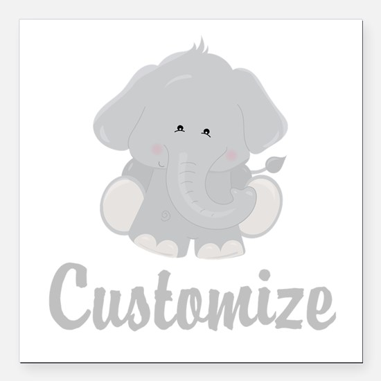 "Baby Elephant Square Car Magnet 3"" x 3"""