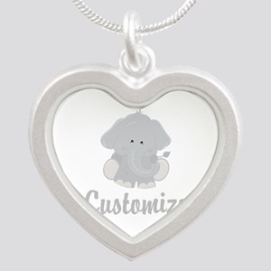 Baby Elephant Silver Heart Necklace