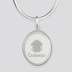 Baby Elephant Silver Oval Necklace