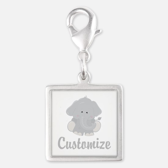 Baby Elephant Silver Square Charm