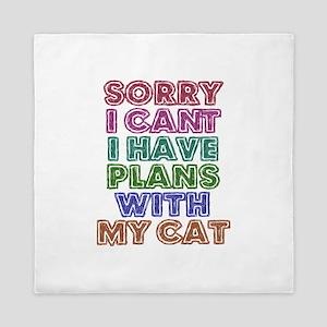 Plans With My Cat Queen Duvet