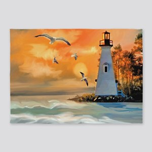 Lighthouse on the Beach 5'x7'Area Rug